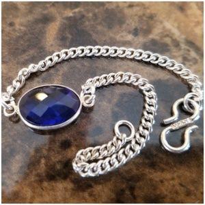 """Jewelry - Blue Sapphire Chain Bracelet 6.5"""" long"""